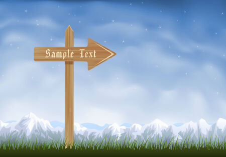 Wooden sign post with an arrow pointing to the right Stock Vector - 6096864