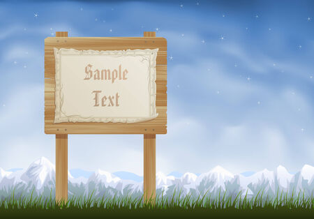 snowcapped mountain: Wooden sign post with a sheet of parchment hanging on it Illustration