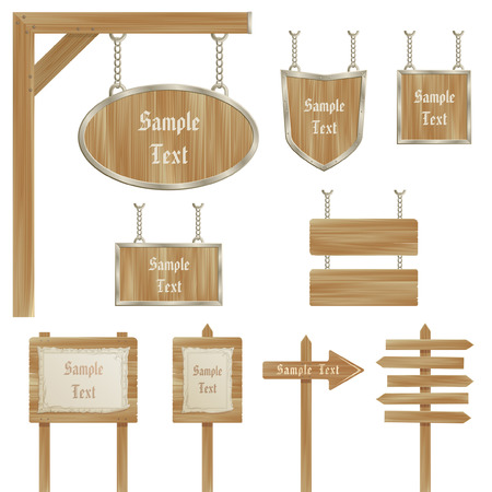 wooden sign posts isolated against white background Illustration
