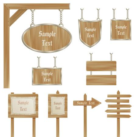 appendere: segno in legno posti isolati su sfondo bianco