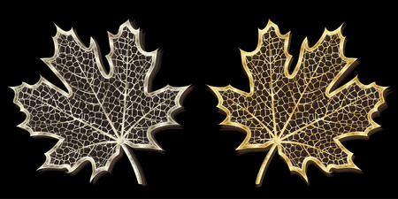 workpiece: Silver and golden hand-made maple leaves isolated on black background Illustration