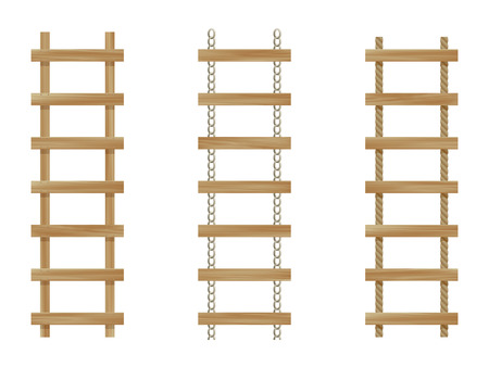 Three wooden ladders isolated on white background
