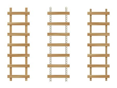 rope ladder: Tres escaleras de madera aisladas sobre fondo blanco  Vectores