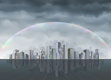 mirrored: Big fantastic city protected from the hostile environment by rainbow force field (better viewed at higher resolution) Illustration