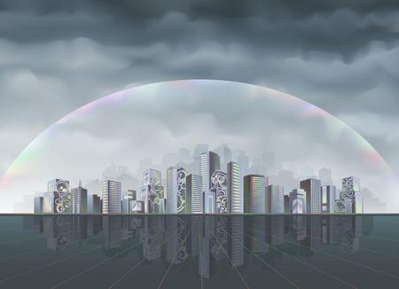 Gran ciudad fantástica protegido desde el ambiente hostil por campo de fuerza de arco iris (mejor visto con una resolución superior)  Ilustración de vector