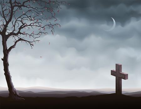 Herfst boom en een graf steen (andere landschappen zijn in mijn galerij)