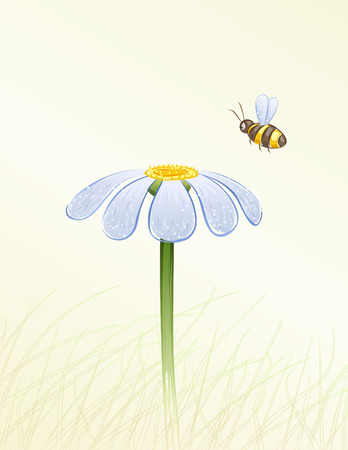 Blue daisy and a bee collecting honey painted in watercolor (vector image, other flowers are in my gallery) Stock Vector - 7370918