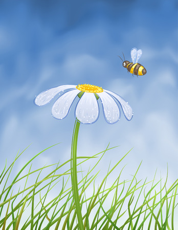 Blue daisy and a bee collecting honey over blue gradient mesh sky (vector image, other flowers are in my gallery)
