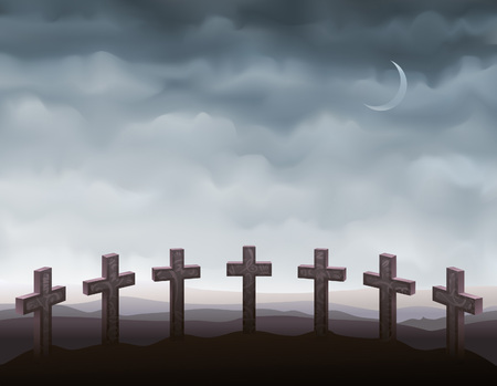 Seven gravestones forming a semi-circle (other landscapes are in my gallery)