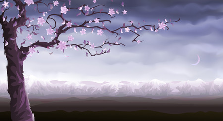 Light violet blooming tree (other landscapes are in my gallery) Illustration