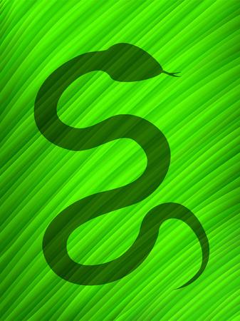 serpiente caricatura: Sombra de la serpiente sobre una hoja grande  Vectores