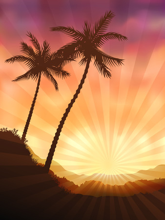 Two palms at sunset (other landscapes are in my gallery) Vector