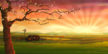 Panoramy terenów wiejskich (innego pejzaży są w mojej galerii)  Ilustracje wektorowe