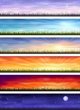 Ciclo de día (conjunto de seis pancartas coloridas mostrando el mismo paisaje en diferentes momentos del día)  Ilustración de vector