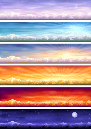 Day cycle (set of six colorful banners showing same landscape at different times of the day) Illustration