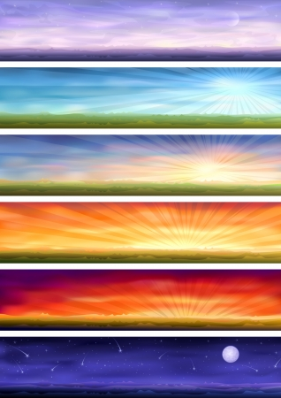morning blue hour: Day cycle (set of six colorful banners showing same landscape at different times of the day) Illustration