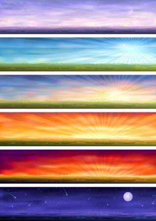 tag und nacht: Day-Zyklus (Satz von sechs farbenfrohe Banner zeigt dieselbe Landschaft zu unterschiedlichen Zeiten des Tages)  Illustration