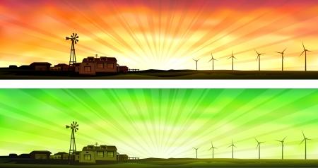 Öko-Landwirtschaft (zwei Banner zeigt kleine ökologische landwirtschaftliche Betriebe, die Windenergie anstatt Strom zu verwenden)