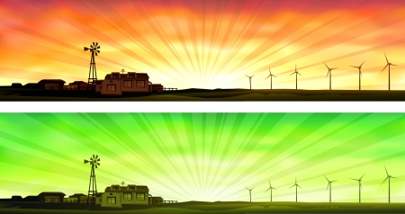 Eco farming (two banners showing small ecological farms that use wind energy instead of electricity) Vector