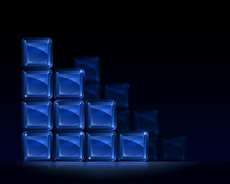 Groups of blue glass blocks forming square triangles Illustration