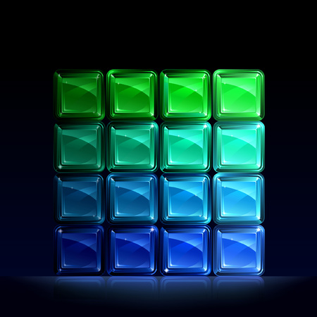 Group of green and blue glass blocks forming a square Illustration