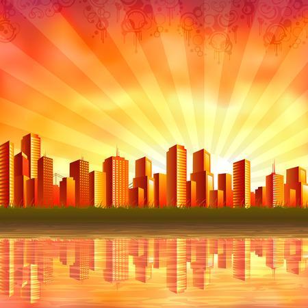 (私のギャラリーでは他の景色) 夕暮れ時穏やかな水に反映して大きなオレンジ都市
