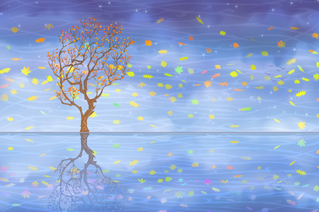 Autumn carnival tree reflecting in clear water (other landscapes are in my gallery Vector