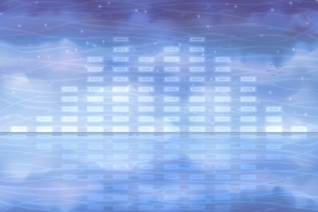 discrete: Blue sound equalizer reflecting in clear water Illustration