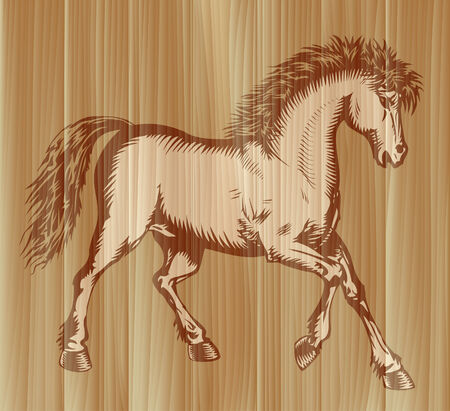 equine: Graceful prancing horse painted on wooden board