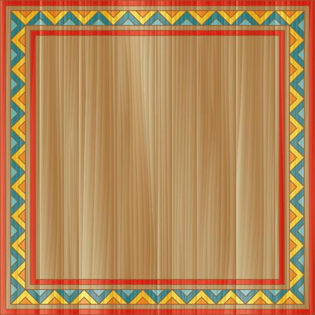folk: Traditional abstract ornamental frame painted on square wooden board