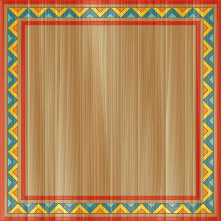 innate: Tradizionale cornice ornamentale astratta dipinte a bordo rettangolare in legno