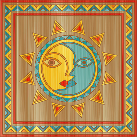 Sun and moon face - traditional day and night allegory painted on square wooden board