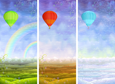 avia: Beautiful summer, autumn and winter rolling landscapes with colorful hot air balloons flying above