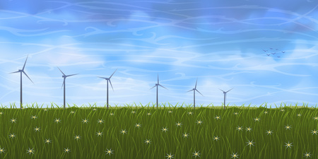 grassy: Summer landscape with several wind turbines on grassy plain