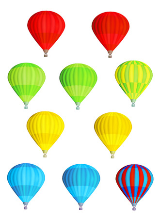 airship: Set of various colorful vector hot air balloons isolated on white background