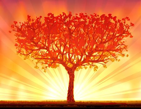 美しい秋の夕日の木  イラスト・ベクター素材