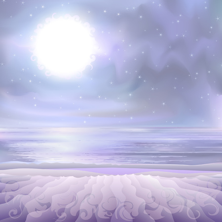 Fantastic supernatural alien landscape - desert seashore lit by a bright white star