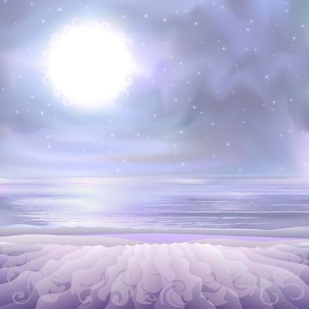 alien landscape: Fantastico paesaggio aliena soprannaturale - riva del mare deserto illuminato da una stella luminosa bianca