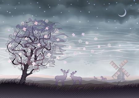 Spirit world - land of wild nature, wind, shadows and dreams Illustration