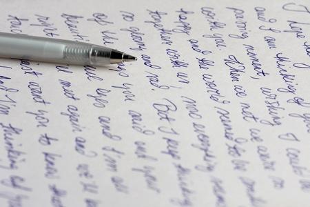 Handgeschreven brief met pen