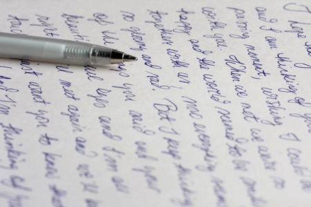 Handwritten letter with pen Stock Photo