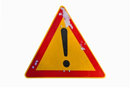Warning exclamation sign isolated over white photo