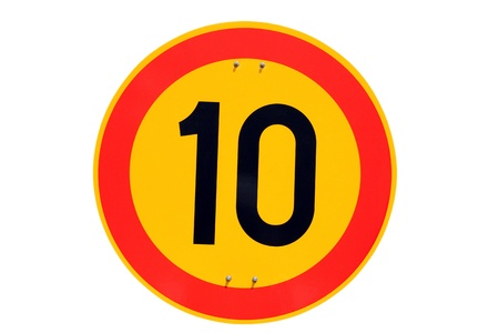 Speed Limit Traffic Sign 10 km per hour isolated over white background  photo