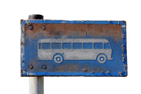 Close up of rusty, worn bus stop sign isolated over white  Stock Photo