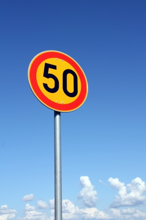 Maximum Speed 50 km per hour with bright sky background Stock Photo - 15031259