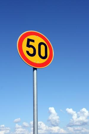 Maximum Speed 50 km per hour with bright sky background Stock Photo - 15031259