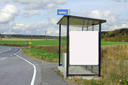 blank billboard: Rural bus stop shelter with blank billboard for your advertisement  Stock Photo