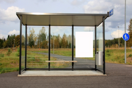 bus stop: Modern bus stop shelter with single billboard for your advertisement