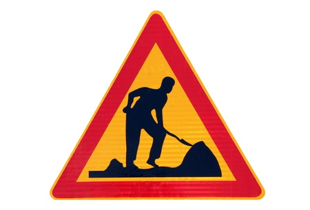 roadwork: Road work traffic sign isolated over white
