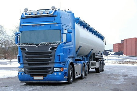 Blue tanker truck ready for delivery. photo